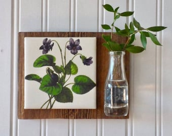 Violets Wall Vase, french country wall decor, wall vase, french country decor, glass vase, barnwood, country decor, french wall decor