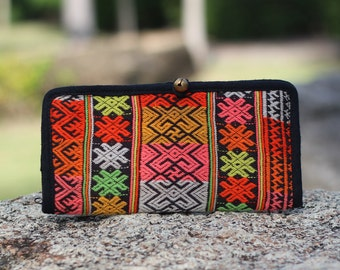 Colorful Up cycled Bifold Embroidered Cotton Womens Wallet   Boho Wallet  Hmong Ethnic Wallet   iPhone Wallet  Boho Purse  vegan wallet