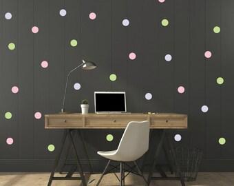 FREE SHIPPING Wall Decal Dots. 3 Pastel Color Green. Pink. Purple.  Larg Quantitiy 208 .  Home Decor Nursery Wall Sticker Art Digital