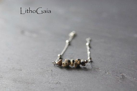 Dalmatian Jasper Bar Bracelet or Anklet 925 Silver, birthstone Bracelet, Jasper jewelry, Zodiac Bracelet Gift for Her, jasper anklet