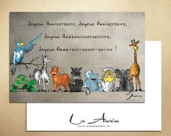 Birthday card - animals singing choir