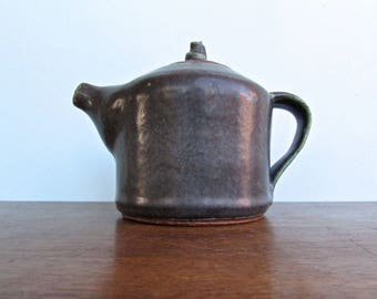 Studio Pottery Teapot, Scandinavian Design, Gun-Metal Grey Speckled w/ Turquoise