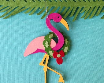 Flamingo Christmas tree ornament