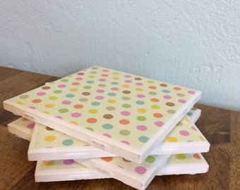 Small polka dot multicolored coasters