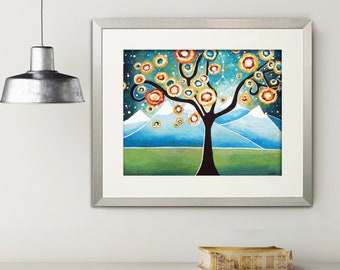 Tree of Life Wall Decor, Abstract Tree Print Wall Art, Fantasy Whimsical Landscape