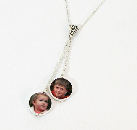 2 Dangling Photo Charms on a Sterling Chain - C8x2N