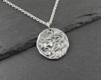 Lion Necklace - Sterling Silver Leo Necklace, lion pendant, animal jewelry, leo zodiac, lion head
