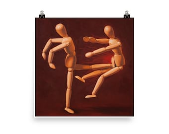 Kick - Art Print, from original painting, wood, artist models, karate, martial arts, fight, humor, art studio, narrative, playful, unusual