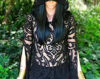 "NEW: The ""Black Queen"" Tunic Dress with Hood in BLACK Baroque by Opal Moon Designs (size S-XXL)"