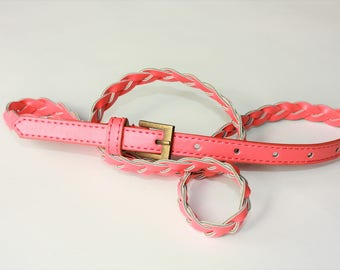 PINK Vintage Belt with Metal Buckle - ... a Fashionista Statement Piece can fit for Size M /// L /// XL