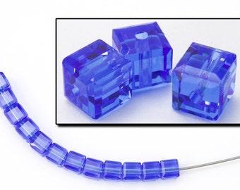 Swarovski 5601 Sapphire Cube Bead  (4mm, 6mm, 8mm)