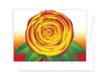 Rose Flower Greeting Card in 5 color options Red/Yellow, Pink/White, Pink/Yellow or Pink