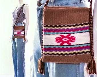 Vintage Ethnic Woven Wool Crossbody Handbag Purse Tribal Bohemian Purse