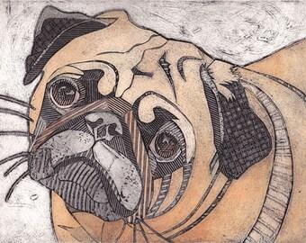 Pug Art Print, Original Fine Art, Collograph, short snouted dog - Pug 11
