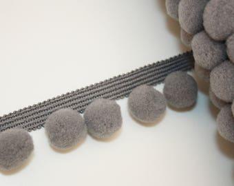 Chocolate grey 20 mm, 1 m, PomPoms, tassels lace tape