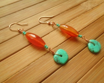 Copper, carnelian and howled pendant earrings