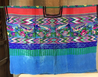 Vintage Guatemala blue huipil with birds and stripes