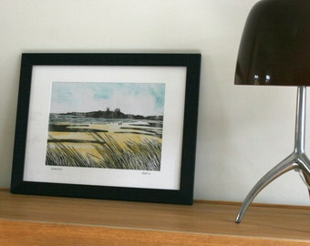 Woodblock of Dunstanburgh castle from Embleton Bay, Northumberland