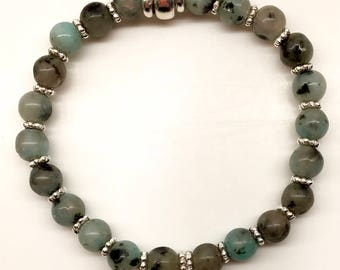 Tranquility Band: Sesame Jasper and Sterling Silver Daisy Beads.