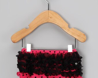 Dark Pink with black dots and ruffle bloomers