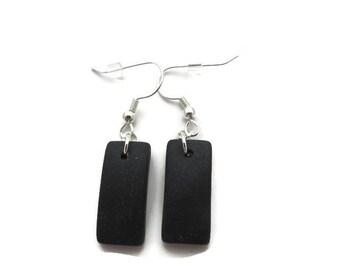 Black Earrings, Black Sea Glass Earring, Black Beach Glass Earring, Black Dangle Earrings, Cultured Sea Glass Jewelry, Black Drop Earring,