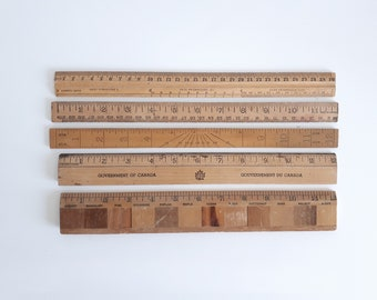 Collection of Vintage Wooden Rulers