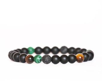 Matte Black Onyx Bracelet, Malachite Bracelet, Tiger Eye Bracelet, Lava Bracelet, Stretch Bracelet, Men Mala, Unisex Bracelet