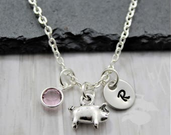 Pig Necklace - Pig Lover Gifts - Show Pig Necklace - Personalized - Pig Jewelry for Kids - Baby Pig Jewelry - Kids Pig Necklace - Cute Pig