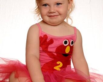 Elmo Leotard Tutu-  Elmo Birthday Dress - Elmo Tutu - Personalized With Birthday Number