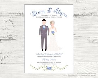 Custom illustrated Wedding invitation | Digital Portrait Wedding Invite
