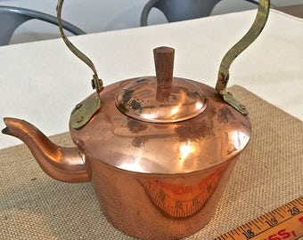 Small Cute Copper Teapot with Wood handle