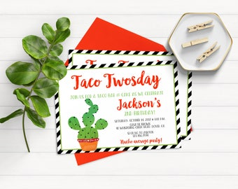 Taco Twosday Invitation, Second Birthday Invitation, Cactus Birthday Invitations, Fiesta Invitation, Fiesta Birthday Party Invitations