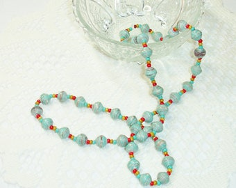 Paper Bead Necklace, Handmade Jewelry Accessories Aqua with Red Southwest