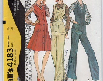 Jumper Or Vest With Button Front Bands And Pants Have Left Side Zipper Plus Size 18 Sewing Pattern 1974 McCall's 4183