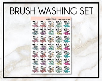 Makeup Brush Washing Planner Stickers -  for use with Erin condren/happy planner - #085