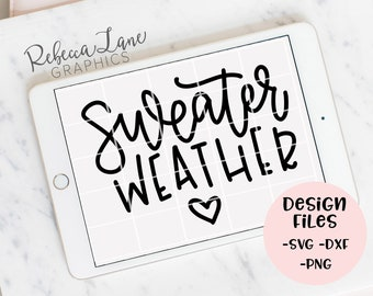 hand lettered sweater weather SVG cut file | DXF | JPG | calligraphy | vinyl cut file | Cricut | Silhouette