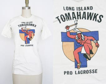 Vintage 1970s Long Island Tomahawks T- Shirt  - Scoop Neck - Vintage White Tee Shirt - Native American Indian Graphic - Pro Lacrosse - Small