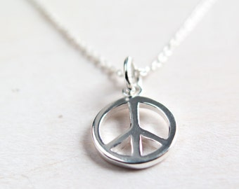 Peace Necklace - Silver Peace Sign Necklace, Sterling Silver Peace Symbol Necklace, Minimalist Layering Jewelry, Boho Jewelry, Teen Necklace