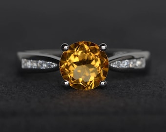 natural citrine ring round cut engagement ring yellow crystal ring sterling silver gemstone ring anniversary gift