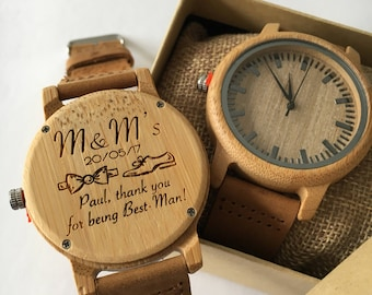 Wooden watch personalised, groomsman, best man, usher, father of the groom, father of the bride,wedding gift, gift for him, engraved