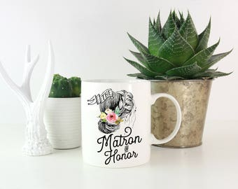 Matron of Honor Mugs, Matron of Honor Gift, Custom Bridal Party Cups, Personalized Matron of Honor Mug, Bridal Party Mugs, Bachelorette Mugs