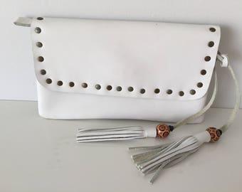 Boho, vintage hand made leather purse 1980's, 80's