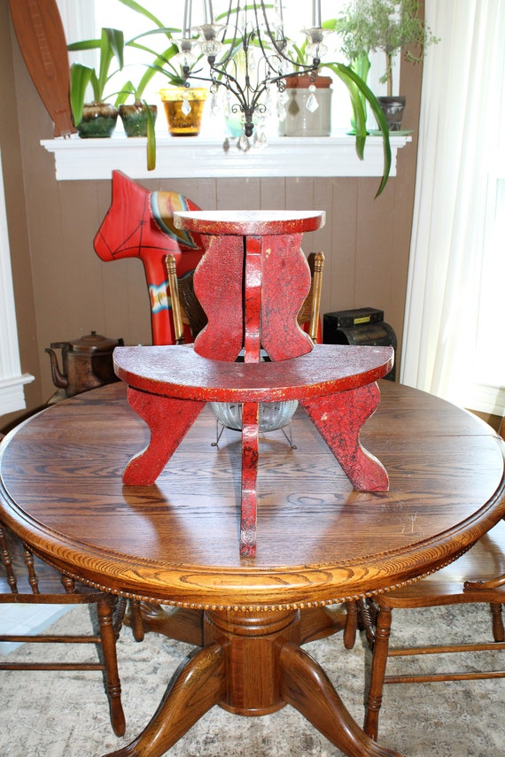 Antique Wooden Plant Stand Country Red Paint 2 Level Half Round