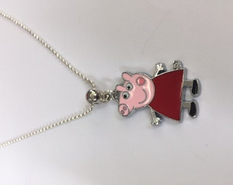 Peppa Charm Necklace - Silver-Plated Ball Bead Chain and Gift Bag