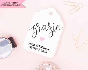Grazie tags (30) - Italian wedding favors - Wedding thank you tags - Wedding tags - Wedding gift tags - Wedding favor tags