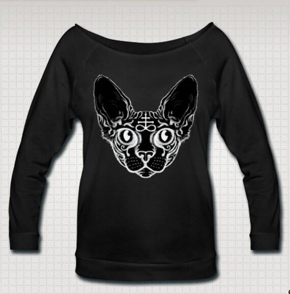 Black Cat Wideneck 3/4 Sleeve Shirt