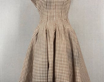 Vintage 1950's Brown and White Gingham Plaid Metal Zipper Party Dress Size Small