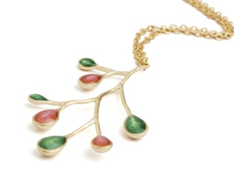 Christmas Gift Shop, Red and Green Necklace, Green Gold Necklace, Branch Jewelry, Nature Pendant, Gold Nature Jewelry, Best Gifts for Her