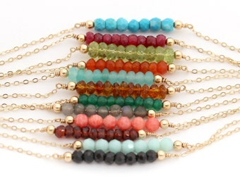 Gemstone Bar Necklace, Delicate Gold Birthstone Necklace / Layering Necklace, Simple Rose Gold Necklace, Customized Minimal Jewelry 1.5