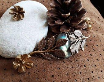 Labradorite, bronze leaf Barrette * Brocéliande *.